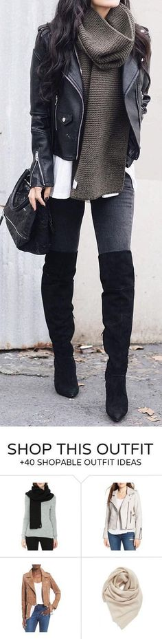 Moto- inspired outfit- love the sweater layered with a leather jacket and dark denim | Style | Fashion | OOTD