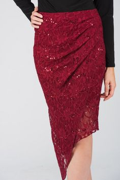 "Catch eyes in the gorgeous new season asymmetric lace <a href=""/clothing/skirts/pencil-skirts"">pencil skirt</a>, combining two Jane Norman favourite styles, ..."