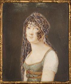 """Miniature portrait of a """"Merveilleuse"""", French school c. 1795"""