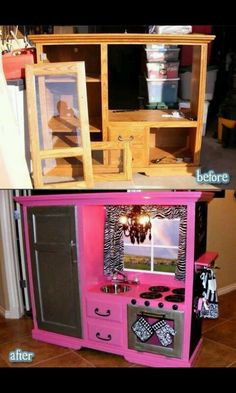 Repurposed entertainment center. LOVE it!
