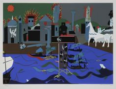 "Romare Bearden. ""Fall of Troy"". I love the Odyssey and Iliad, and especially this colorful representation of it. Sold for $1,121 on May 12, 2012."