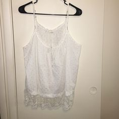 Aerie XL Tank white/silver with white lace Aerie XL Tank white/silver with white lace at bottom.  Very pretty could be dressy or casual!  In excellent condition aerie Tops Tank Tops