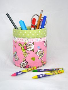 Pencil Holder / organizer  Recycled   Pink and Green by shusha64, $14.00