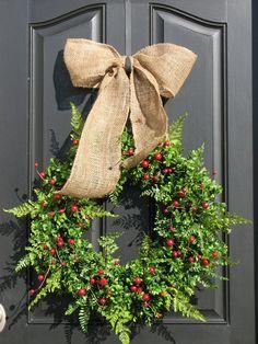 Fern wreath on a great black door