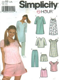 SLEEPWEAR Sewing Pattern - PLUS SIZE Easy Nightshirt Tops Pants & Shorts - Sizes 18-24