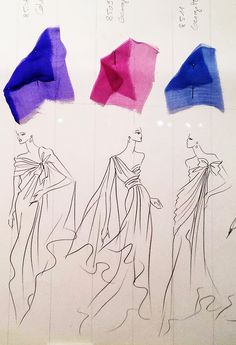 YvesSaintLaurent's own Collection Boards featuring his sketches from 1962 to 2002