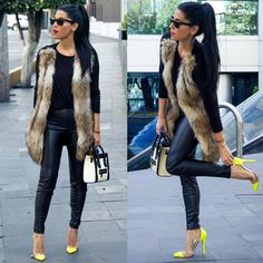 Winter Fashion Outfit OOTD Long Sleeve Top Leather Leggings Faux Fur Gilet Waistcoat Dope Swag Retro 90s Vintage Style Trend Fashionista Stylish Yellow Pointy High Heel Shoes Shades Sunglasses Dope Swag Shani_Amit
