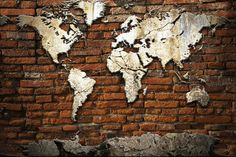 Liven up your wall with this 'Grunge Concrete World Map On Old Brick' feature wallpaper.