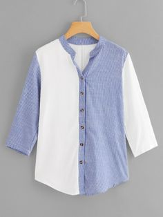 Casual Striped Shirt Regular Fit V neck Three Quarter Length Sleeve Placket Blue Longline Length Striped Panel Single Breasted Blouse Blouse Styles, Blouse Designs, Blue Fashion, Fashion Outfits, Men Fashion, Stylish Outfits, Indian Blouse, Fall Shirts, Blouse Online