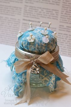 Make beautiful pin cushions using stampin up's fabric. These will make perfect gifts for friends, families or teachers.