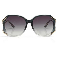 Linda Farrow Mørkegrønne Jackie O Solbriller ($115) ❤ liked on Polyvore featuring accessories, eyewear, sunglasses, glasses, óculos, jewelry, women, metal glasses, linda farrow glasses and transparent glasses