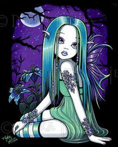 Gothic Fairy Moon Flower Teal Child Fae Luna Lt Edition CANVAS Embellished 8x10