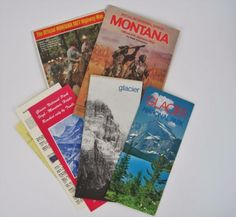 Vtg-Maps-Montana-Brochures-Highway-Topographic-Glacier-National-Park-1970s