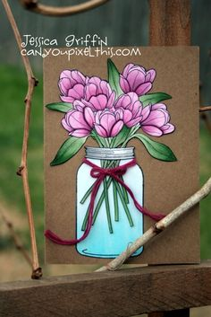 PTI Friendship Jar Spring Fillers - love the colors used on the card - bjl Paper Cards, Diy Cards, Handmade Cards, Pot Mason, Mason Jars, Canning Jars, Card Making Inspiration, Making Ideas, Mason Jar Cards