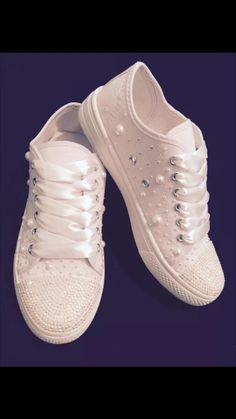 Wedding bridal customised trainers pumps converse style, crystals & pearls, personalised