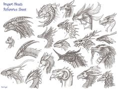 head reference image | Dragon heads reference sheet by archir on Newgrounds