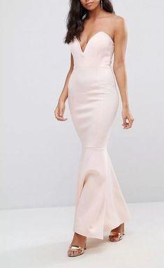 Club L Scuba Deep Plunge Bandeau Maxi Dress - Pink Latest Fashion Clothes, Latest Fashion Trends, Fashion Online, Dressy Dresses, Women's Dresses, Scuba Fabric, Tube Dress, Online Shopping Clothes, Street Style