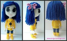 yellow crochet doll with blue hair