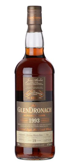 "1993 GlenDronach 19 Year Old ""K Exclusive"" Single Barrel Cask Strength Single Malt Whisky, $140"