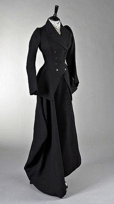 A lady's riding habit, English, circa 1890  I'd like this with an ankle length skirt.