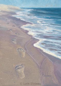 """A Walk on the Beach"", oil on panel, 7"" x 5"",  by Lucie Bilodeau."