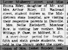 Nellie Zielsdorff Visits her mother Mrs. William Case Milford NJ 17 Jul 1935