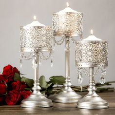 Inexpensive Davida 3 Piece Metal Hurricane Set By Rosdorf Park Now! Hurricane Candle Holders, Taper Candle Holders, Glass Candle Holders, Candle Sticks, Candle Set, Candelabra Centerpiece, Centerpiece Decorations, Stick Decorations, Flower Decorations