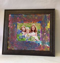 Custom Framed watercolor mat with family picture.