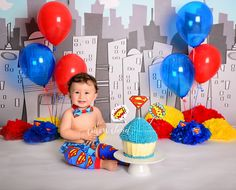 Cake Smash » Cotton Cloud Photography Sydney australia - Superman themed smash the cake
