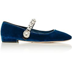 Miu Miu Women's Crystal-Embellished Velvet Ballerina Flats ($950) ❤ liked on Polyvore featuring shoes, flats, blue, blue ballerina flats, ballet shoes, embellished flats, ballerina flats and blue flat shoes