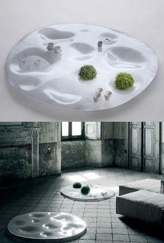 Low glass coffee table GARDEN PLATE by Living Divani   #design Junya Ishigami @livingdivani