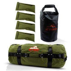 Sandbag Workout Bag & Sandbag Kettlebell Set -  Fitness Sandbags with 8 Foam Padded Handles & 3 Inner Bags - Green / Large 125-200LB