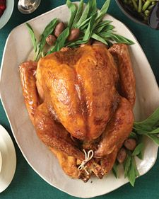 Roast Turkey with Brown Sugar and Mustard Glaze. A practically instant sweet-and-spicy mixture of mustard and brown sugar flavors the bird and gives the skin an impressive golden-brown color.