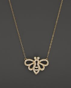 Bloomingdale's Diamond Bumble Bee Pendant Necklace in 14K Yellow Gold, .15 ct. t.w.