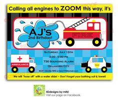 Emergency Themed birthday party Invitation - Fire Truck, Police, Ambulance on Etsy, $18.00