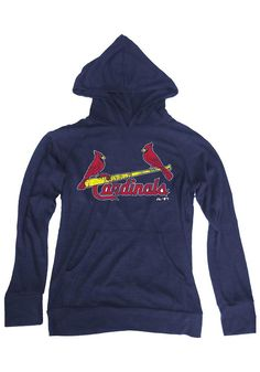 St. Louis Cardinals Mens Majestic Threads Navy Slub Hacci Pullover Hoodie size large