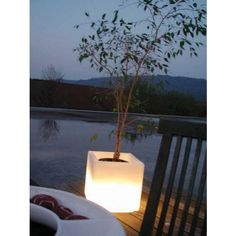Love these lighted Cubes and the idea of using them as planters outdoors!