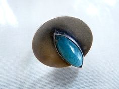 Vintage,, modernist, mid century modern designer, sterling silver and amazonite Italian ring signed 1960s/50s