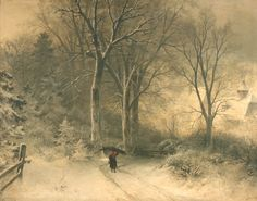 Sophus Jacobsen - Figure carrying Wood within a Snowy Landscape, late 19th Century