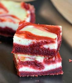 Red velvet cheesecake brownies using cake mix. Ingredients 1 Duncan Hines Red Velvet cake mix;  3/4 cup butter, after melted;  1 egg;  1/2 cup water;  1 cup semi-sweet chocolate chips. Filling: 4 ounces of cream cheese, softened;  1 egg;  3 tablespoons sugar;  1/4 teaspoon vanilla