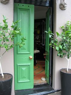 There's an old piano & it's playing hot behind the green door. Front Door Paint Colors, Painted Front Doors, Front Door Decor, Door Entry, Door Gate, Paint Colours, Behind The Green Door, Black Doors, Green Doors