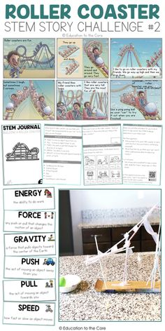 Roller Coaster Stem Story Challenge: Great for Force and Motion activities for primary students! What your Stem Story Challenge will have: 3 Illustrated Stories, Teacher Guide, Vocabulary Cards, Rubric, and a Journal! 4th Grade Science, Stem Science, Middle School Science, Science Fair, Physical Science, Middle School Stem, Earth Science, High School, Science Chemistry