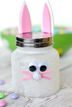 Osterhase aus Einmachglas, schöne DIY Geschenkidee für Kinder, mit Süßigkeiten füllen