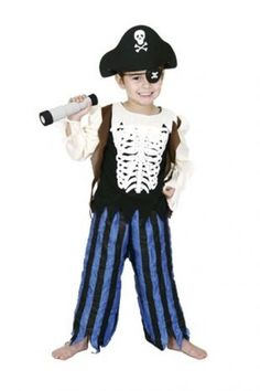 Kids Halloween Pirate Skeleton With Hat Eye Patch Costume Party