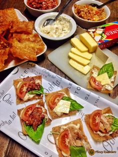 Canapé is a type of hors d'œuvre or French appetizer that usually comes in small, decorative and finger-sized bites. This type of dish wh. French Appetizers, Crispy Wonton, Pinoy, Tablescapes, Cheese, Dishes, Type, Dining, Cooking