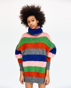 Image 2 of OVERSIZE MULTICOLOR STRIPED SWEATER from Zara