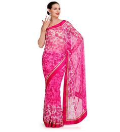 Magenta Shaded Georgette Saree with Satin Border | Fabroop USA