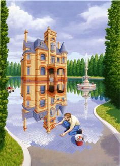 Take a look at this amazing Rob Gonsalves Magic Realism Illusions illusion. Browse and enjoy our huge collection of optical illusions and mind-bending images and videos. Optical Illusion Paintings, Amazing Optical Illusions, Canadian Painters, Canadian Artists, Magic Realism, Realism Art, Airbrush Art, Robert Gonsalves, Eugenia Loli
