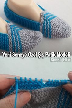 Knitted Booties, Knit Shoes, Knitted Slippers, Crochet Shoes, Knit Crochet, Lace Knitting Patterns, Crochet Stitches, Stitch Patterns, Knitting Socks