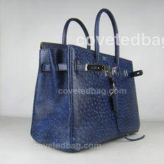 Hermes Ostrich Veins Leather Birkin 40cm Bag - Dark Blue (Silver Hardware) 97552 - covetedbag.com